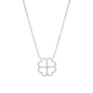 IMG_9298 gargantilha trevo em ouro branco com diamantes
