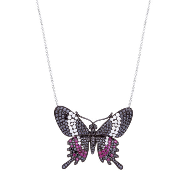 Gargantilha borboleta em ouro branco com rubis e diamantes negros e incolores grande.