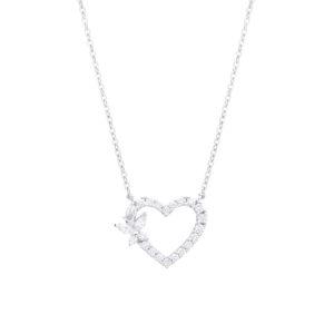Gargantilha coração e borboleta em ouro branco com diamantes.