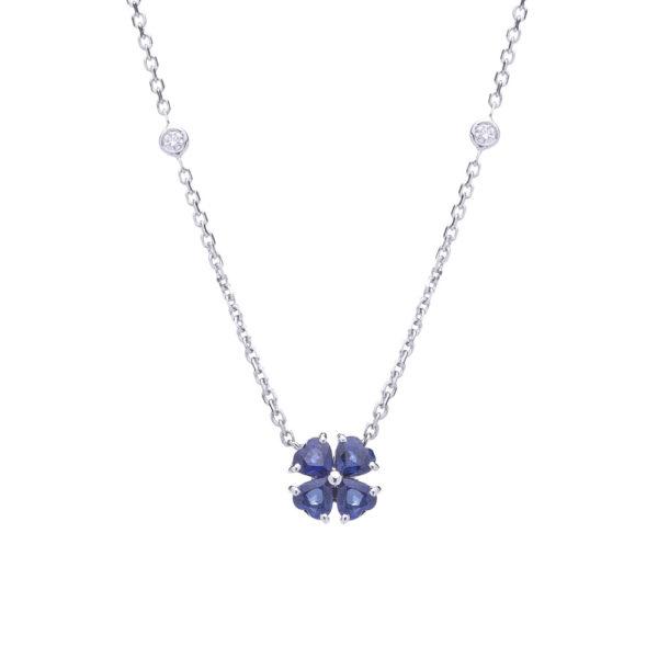Gargantilha trevo flor em ouro branco com safiras e diamantes.