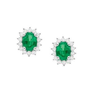 FJ.FR.011.0083 brincos em ouro branco com esmeralda lapidação oval e diamantes