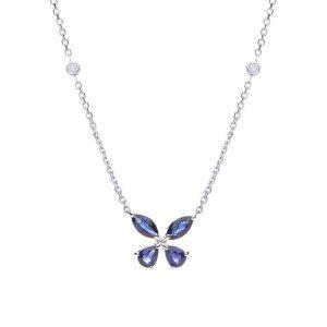 Gargantilha borboleta em ouro branco com safiras e diamantes.