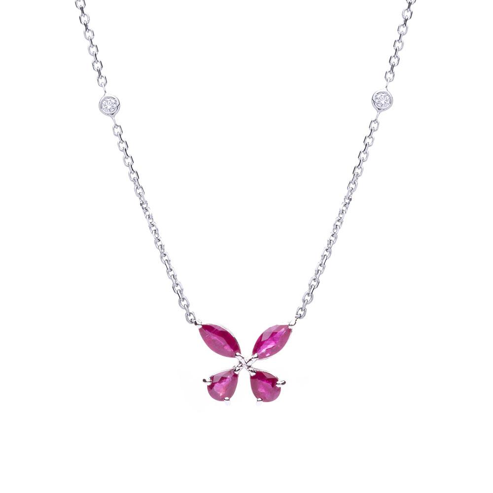 72a8c36858e9a Gargantilha borboleta em ouro branco com rubis e diamantes.