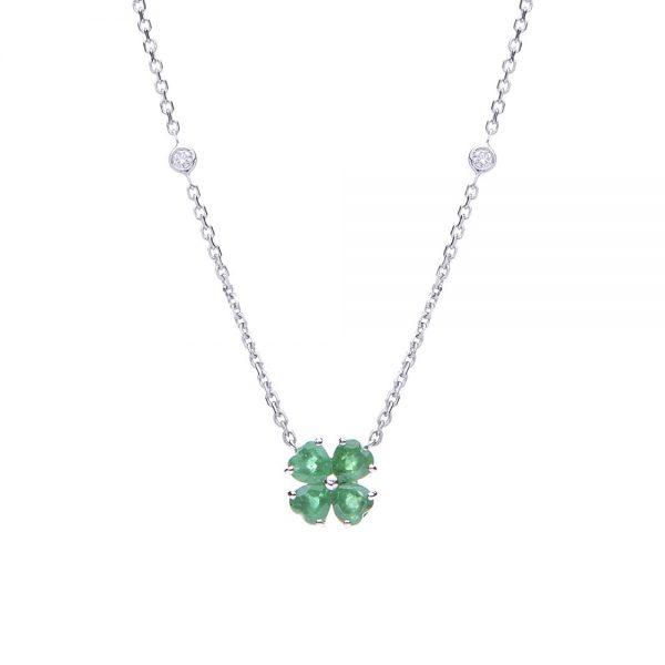 Gargantilha trevo flor em ouro branco com esmeraldas e diamantes.