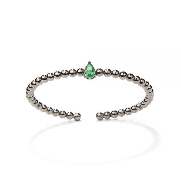 Bracelete em ouro branco com esmeralda.