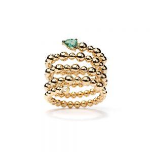 Anel em ouro amarelo com esmeralda e diamante