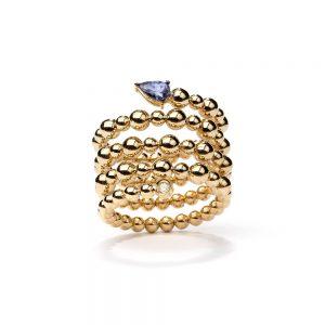 Anel em ouro amarelo com tanzanita e diamante.
