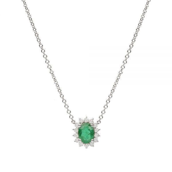 Gargantilha em ouro branco com esmeralda e diamantes.