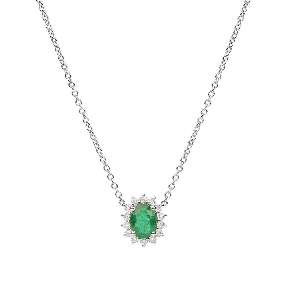 5e7f89258d24d Gargantilha em ouro branco com esmeralda e diamantes.