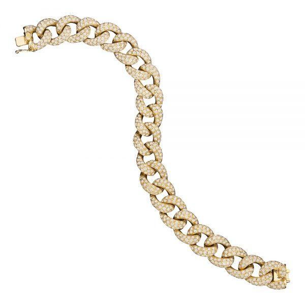 Pulseiras elos em ouro amarelo com diamantes