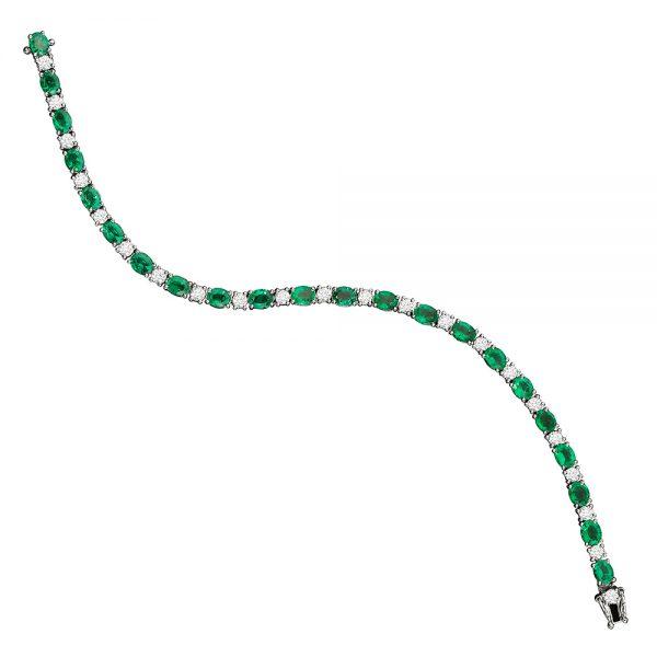 pulseira tennis bracelet em ouro branco com esmeraldas e diamantes