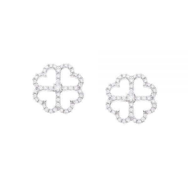 Brincos trevo em ouro branco com diamantes