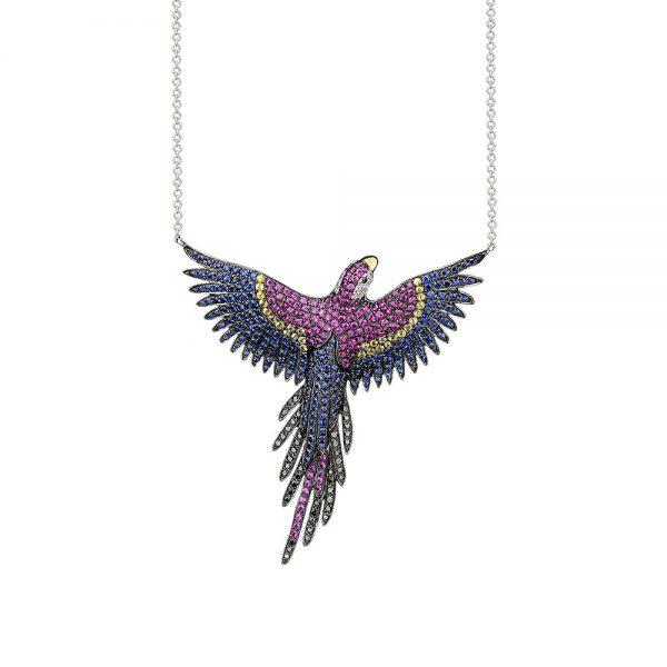 Gargantilha Arara Macaw colorida em ouro branco com safiras coloridas, rubis, diamantes negro e incolores.